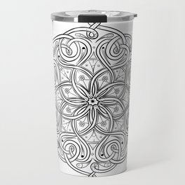 Celtic Knot Mandala Black and Wite Travel Mug