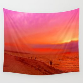 Sunset in orange and pink by the beach Wall Tapestry