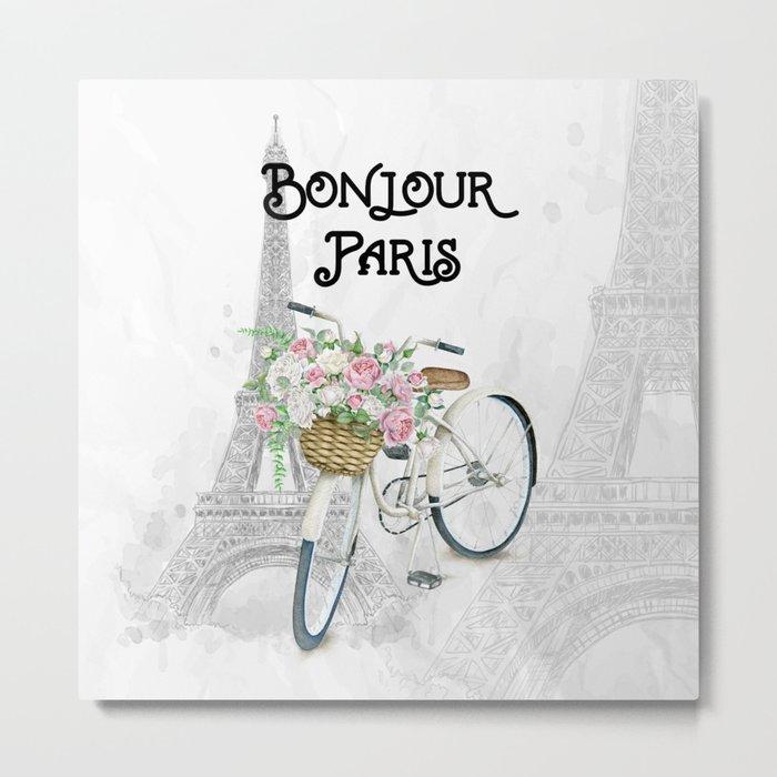 Vintage Bicycle Bonjour Paris Metal Print