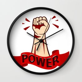 Raised in protest male hand in the air with red ribbon and lettering power Wall Clock