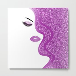 Purple glitter woman Metal Print