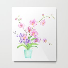 Watercolor Orchid Illustration Metal Print