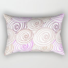 Abstract pink pattern. Hand painted lines, rounds and circles on white background. Rectangular Pillow