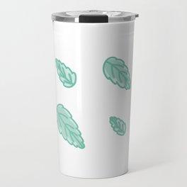 Green Scalloped Leaves Illustration Travel Mug
