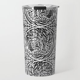 Tree motif in black in white Travel Mug