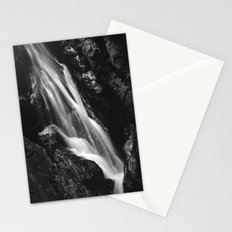 Black and white waterfall in Hell Gorge, Slovenia Stationery Cards