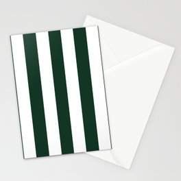 Phthalo green - solid color - white vertical lines pattern Stationery Cards
