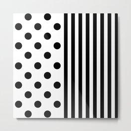 SPOTS & STRIPES (BLACK-WHITE) Metal Print