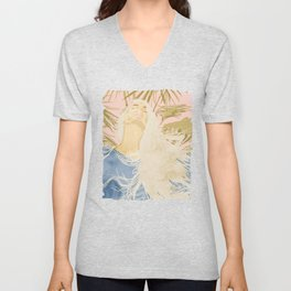 Blissful, Chic Tropical Palm, Jungle Blonde Woman Fashion Freedom Feminism Pastel Painting Unisex V-Neck