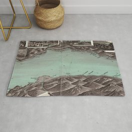 Vintage Pictorial Map of Lake Geneva (1870) Rug