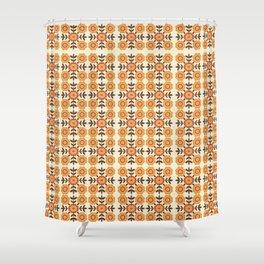Retro Orange Floral Print Shower Curtain