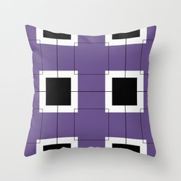 White Hairline Squares in Purple Throw Pillow