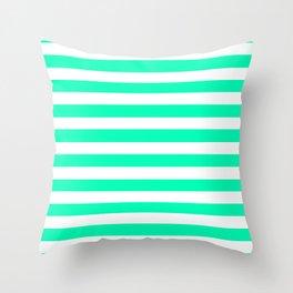Mint and White Stripes Throw Pillow