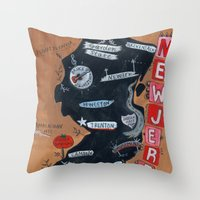 new jersey Throw Pillows featuring NEW JERSEY by Christiane Engel