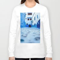 morocco Long Sleeve T-shirts featuring Chefchaouen, Morocco by Petrichor Photo