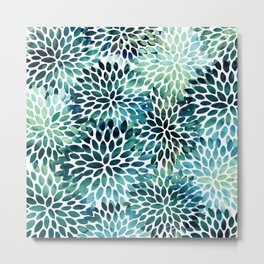 Floral Watercolor, Navy, Blue Teal, Abstract Watercolor Metal Print