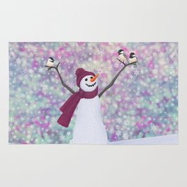 snowman and chickadees Rug