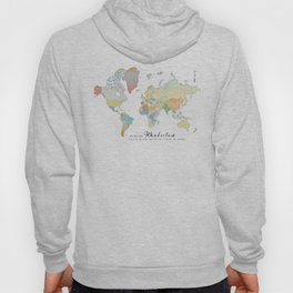 "World Map ""Wanderlust"" Digital Watercolor Hoody"