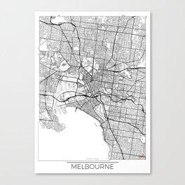 Melbourne Map White Canvas Print