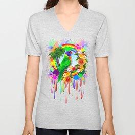 Rainbow Lorikeet Parrot Art Unisex V-Neck