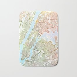 New York City  Map Watercolor by Zouzounio Art Bath Mat