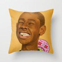 tyler the creator Throw Pillows featuring Tyler, The Creator by Karen Keller