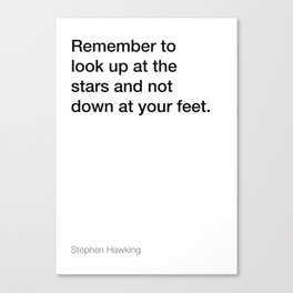 Stephen Hawking quote about stars [White Edition] Canvas Print