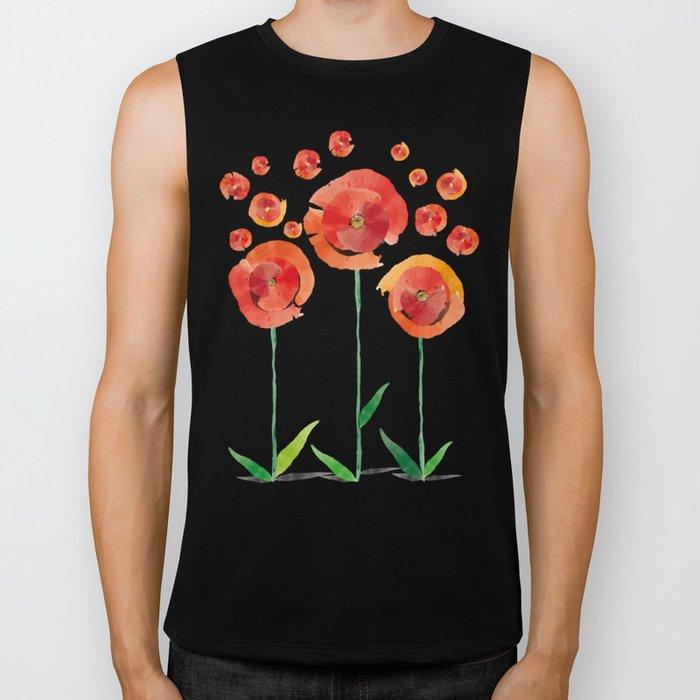 The poppy's bonfire (of emotions and petals) Biker Tank