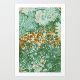 Mint Chocolate Flower Collage Art Print