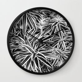 Black and White Tropical Print Wall Clock