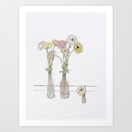 Long-stem florals Art Print