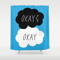 okay Shower Curtains featuring Okay? Okay by Lola