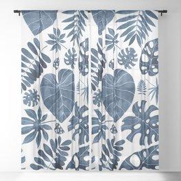 Blue tropical palm leaves Sheer Curtain
