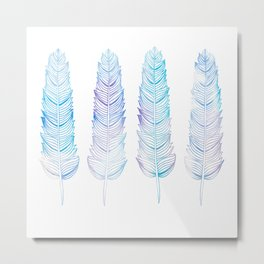 Hand-drown blue feathers Metal Print