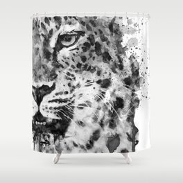 Black And White Half Faced Leopard Shower Curtain