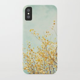 Yellow Tree Leaves Mint Sky Photography, Nature Turquoise Teal Gold Aqua iPhone Case