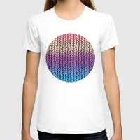 knit T-shirts featuring Rainbow Gradient Chunky Knit Pattern by micklyn