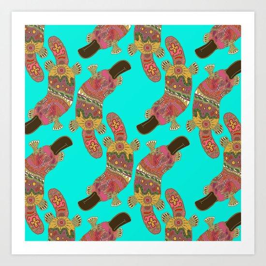 duck-billed platypus turquoise Art Print
