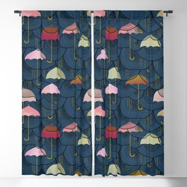 Rainclouds and Umbrellas Blackout Curtain