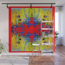 WESTERN YELLOW & RED GARDEN GOLD BLUE FLOWERS Wall Mural