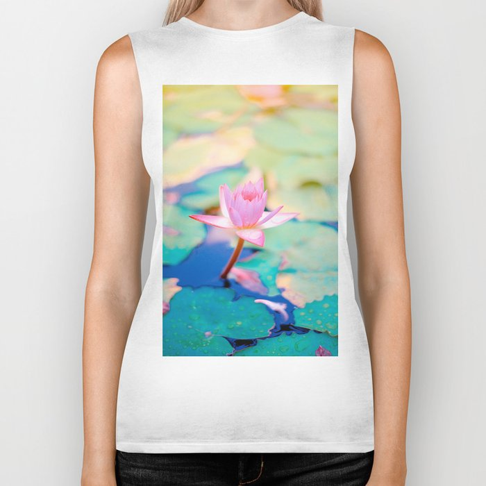 Pastel Colors Pink Teal And Blue Lotus Flower With Green Lily Pads Biker Tank