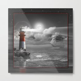 Lighthouse and Sailboat under moonlight Metal Print