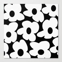 White Retro Flowers Black Background #decor #society6 #buyart Canvas Print