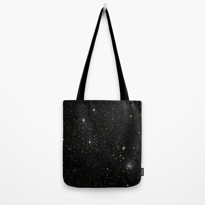 Universe Space Stars Planets Galaxy Black and White Tote Bag