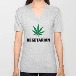 Vegetarian Leaf Funny Quote Unisex V-Neck