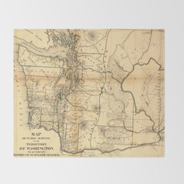 Vintage Map of Washington State (1866) Throw Blanket