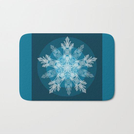 1 Blue Snowflake Bath Mat