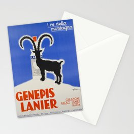 old poster genepis lanier i re della montagna Stationery Cards