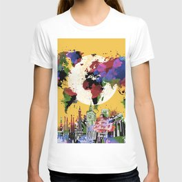 world map watercolor yellow T-shirt