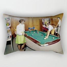 1960's Game room with Pinball and a Pool Table in the Admiral Motel in Wildwood, NJ Rectangular Pillow
